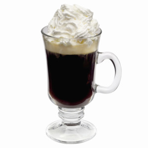 Close up of a glass of Irish coffee
