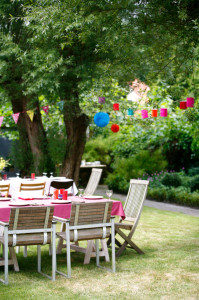 Tables laid out before a garden party