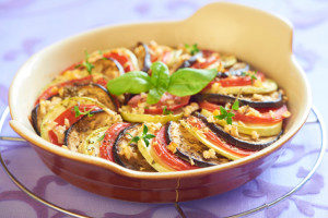 Baked vegetables with garlic and herbs